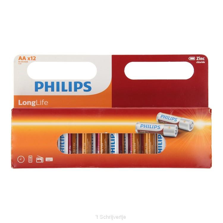 Philips Longlife Batterij Zinc AA/R6, 12st.