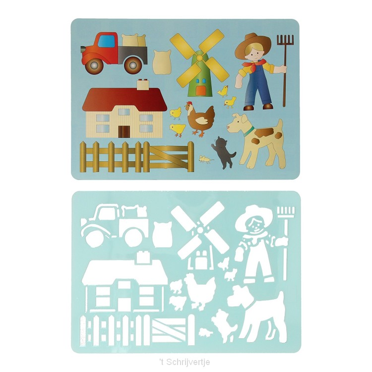 Tekensjabloon Boerderij, 27x19cm