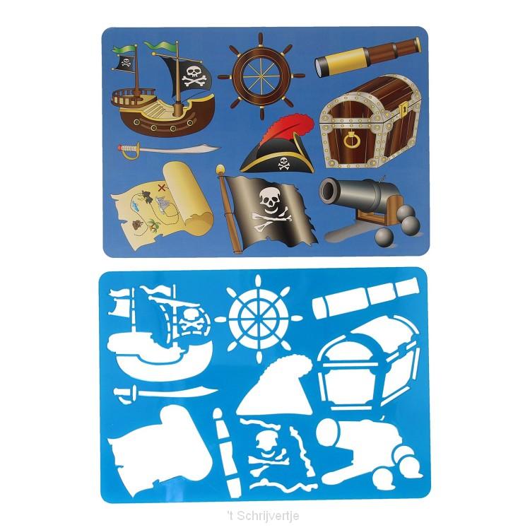 Tekensjabloon Piraat, 27x19cm