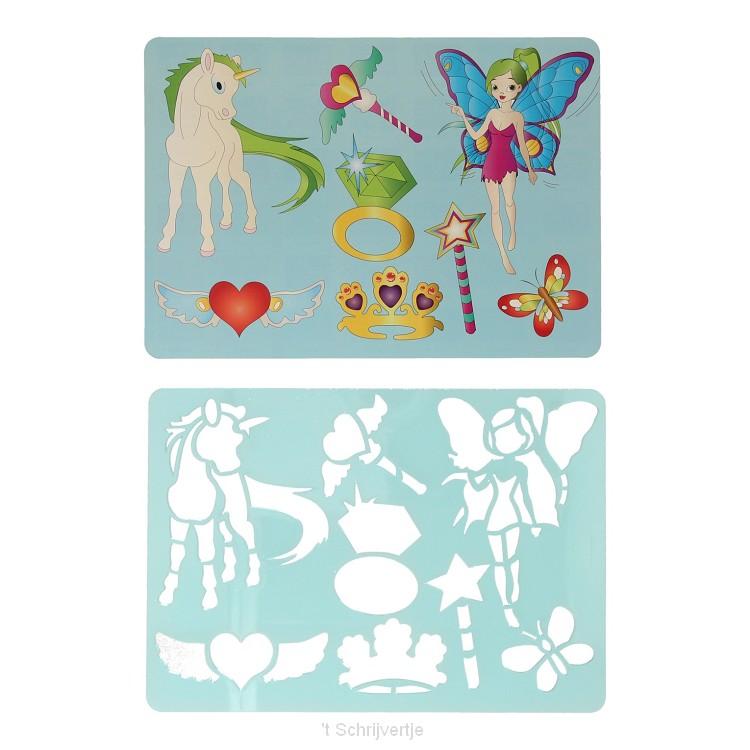 Tekensjabloon Fee en Eenhoorn, 27x19cm