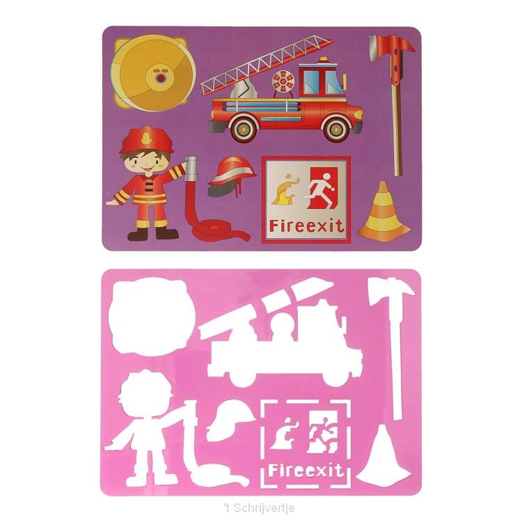 Tekensjabloon Brandweer, 27x19cm