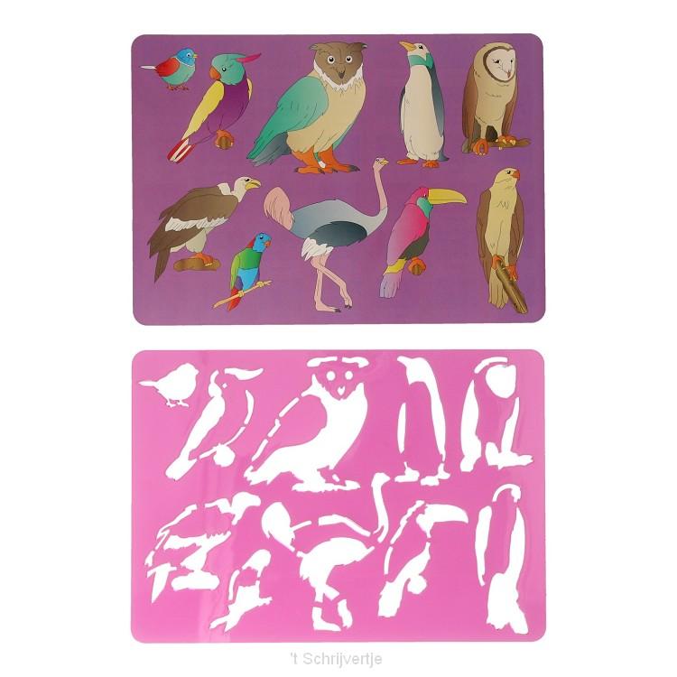 Tekensjabloon Vogels, 27x19cm
