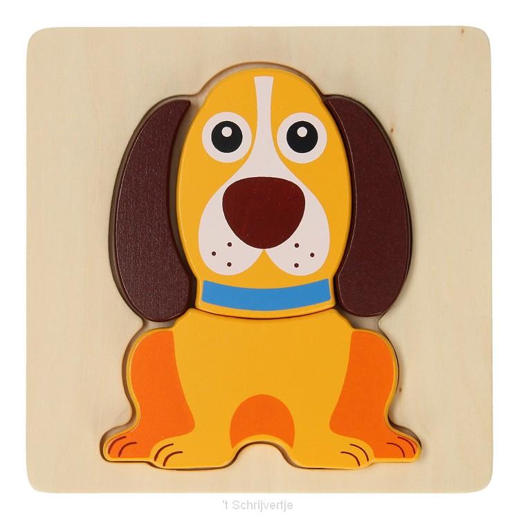 Joueco Houten Dierenpuzzel - Hond