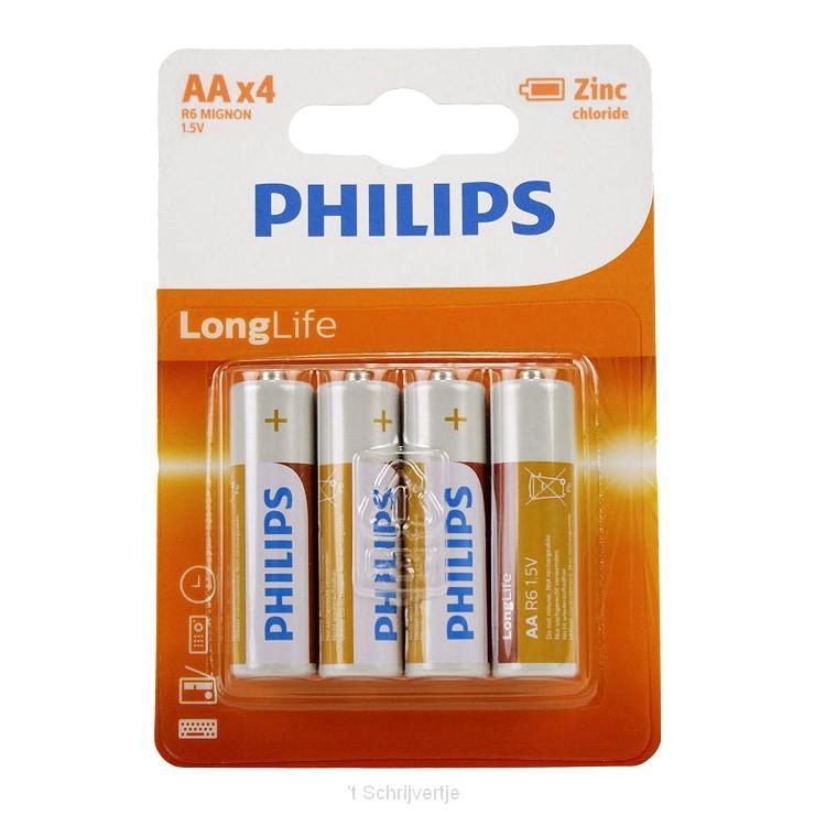 Philips Batterij R6 AA Long Life