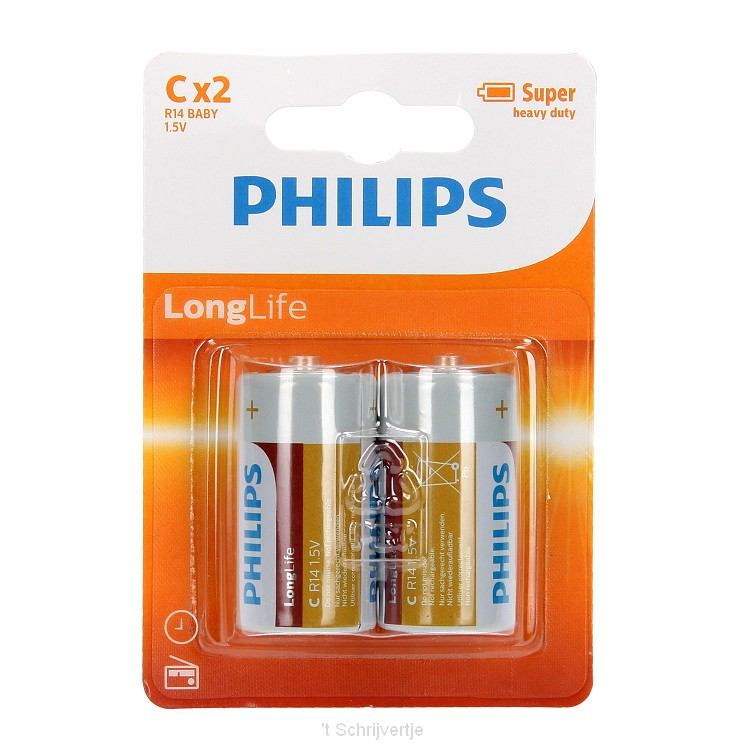 Philips Batterij R14 C Long Life