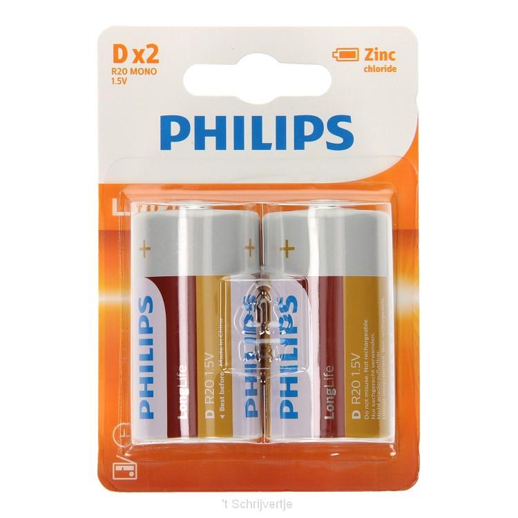 Philips Longlife Batterij Zinc D/R20, 2st.