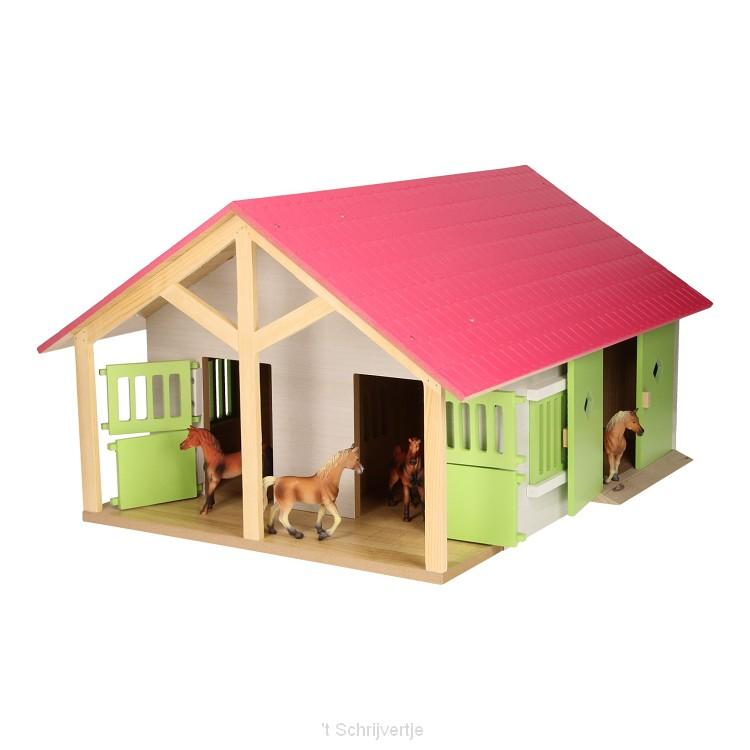 Paardenstal Roze met 2 Boxen en Berging, 1:24