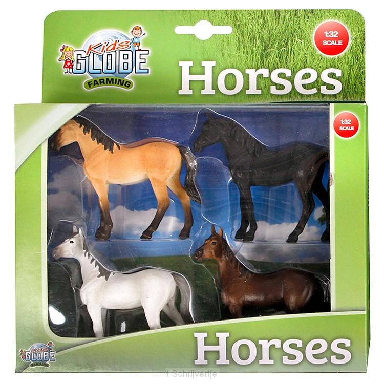 Kids Globe Paarden, 4st. 1:32
