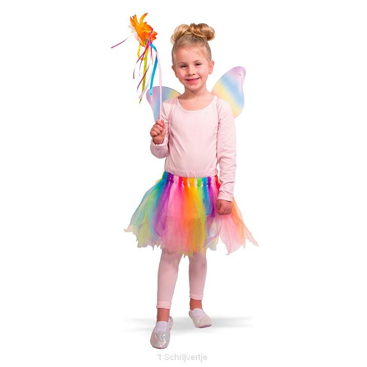 Verkleedset Regenboog Fee, Maat 116-134