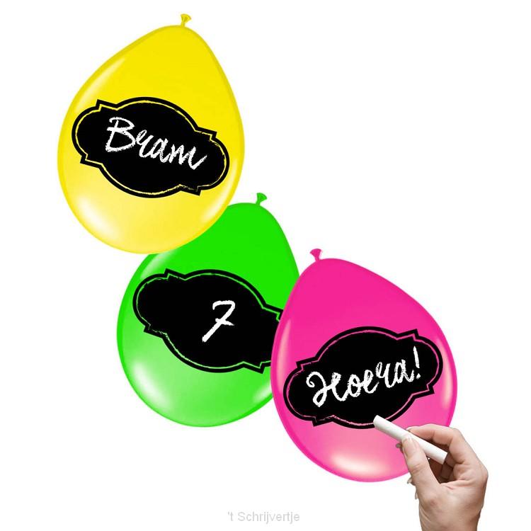 Beschrijfbare Ballonnen Neon, 6st.