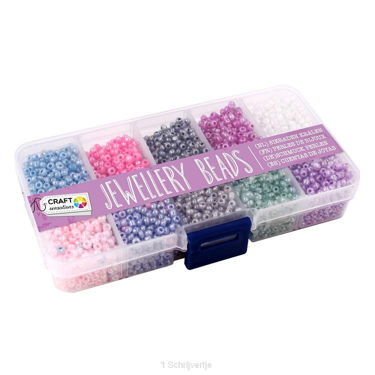 Sieraden Kralen in Opbergbak, 10 Kleuren