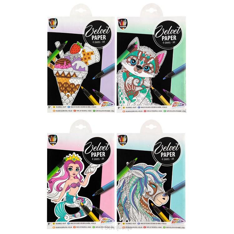 Knutsel-Scratchset Fluweel Papier