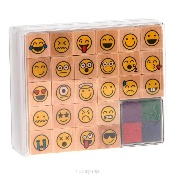 Houten Stempels Emoji, 27dlg.