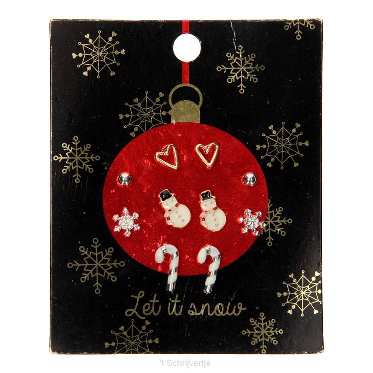 Kinder Oorknopjes Kerst, 6 paar