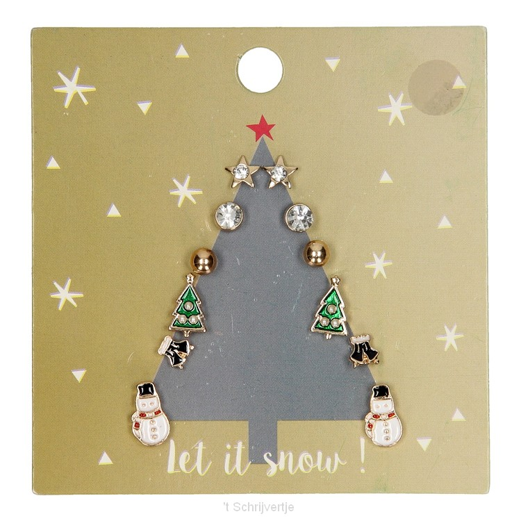 Kinder Oorknopjes Kerstboom Goud, 6 paar