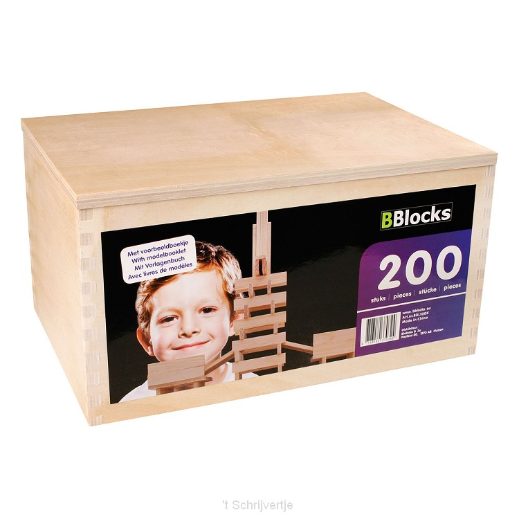 BBlocks Kist 200 Blanke Plankjes