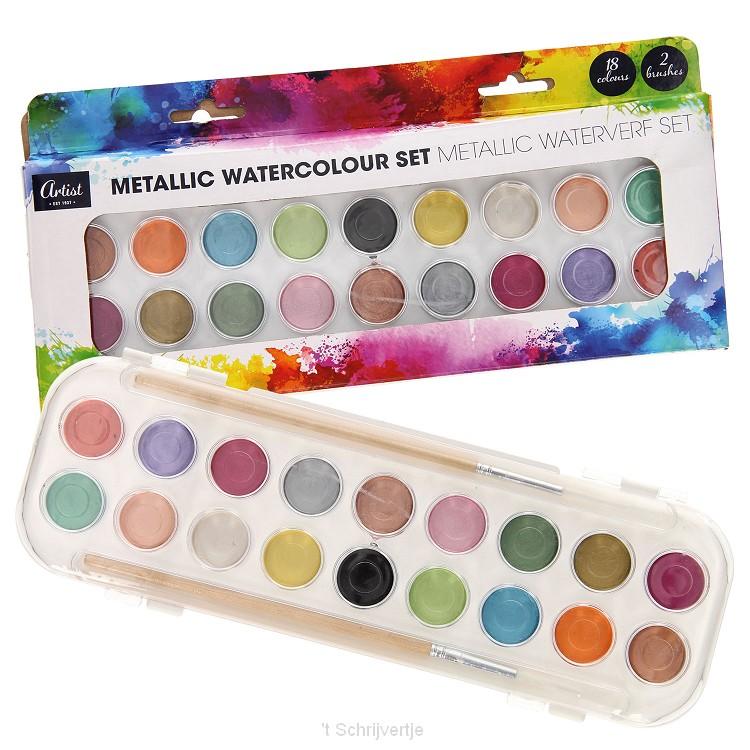 Waterverfset Metallic, 18 kleuren