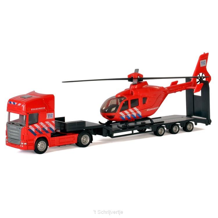 Polesie Die-cast Vrachtwagen met Helikopter - Brandweer