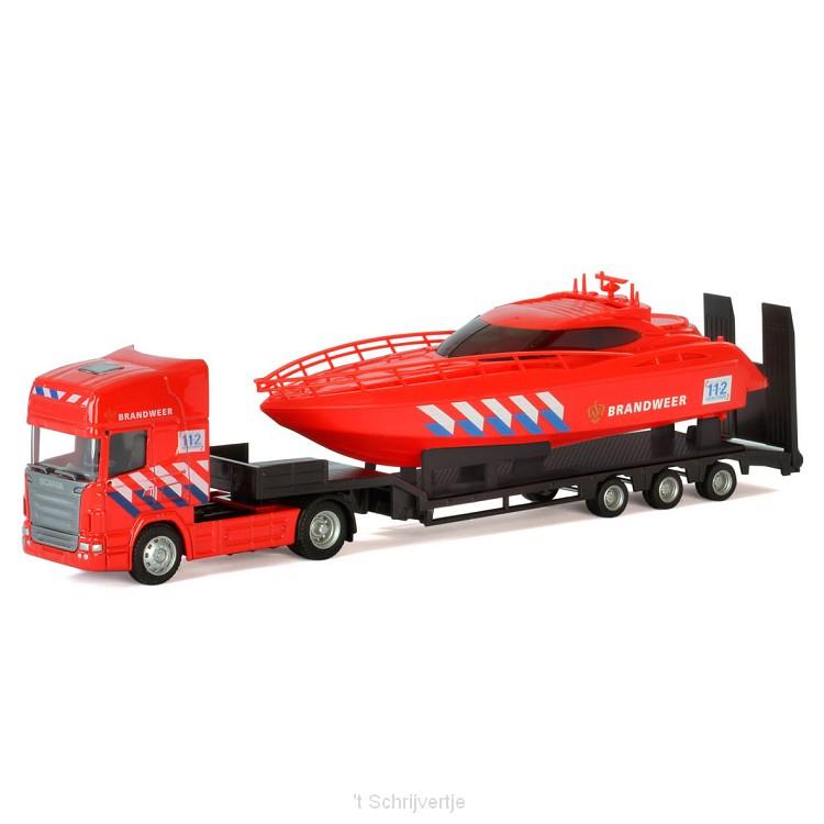 Polesie Die-cast Vrachtwagen met Boot - Brandweer