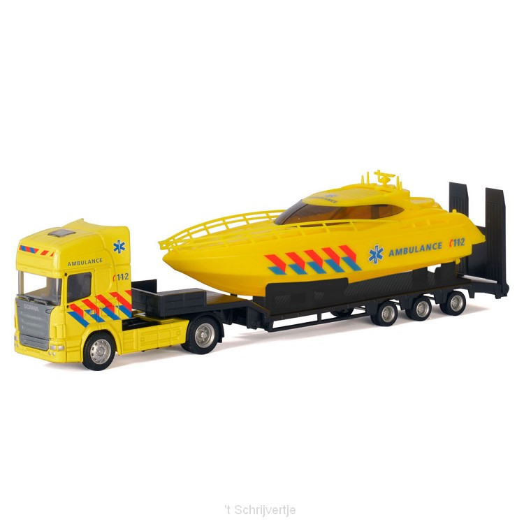 Die-cast Vrachtwagen met Boot - Ambulance