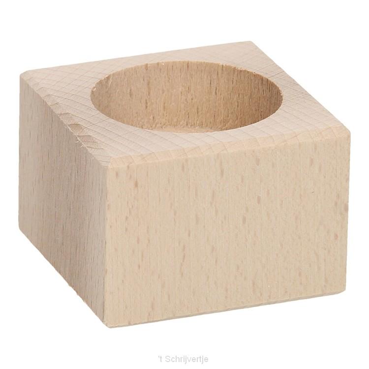 Waxinelichthouder Vierkant Beukenhout, 4cm