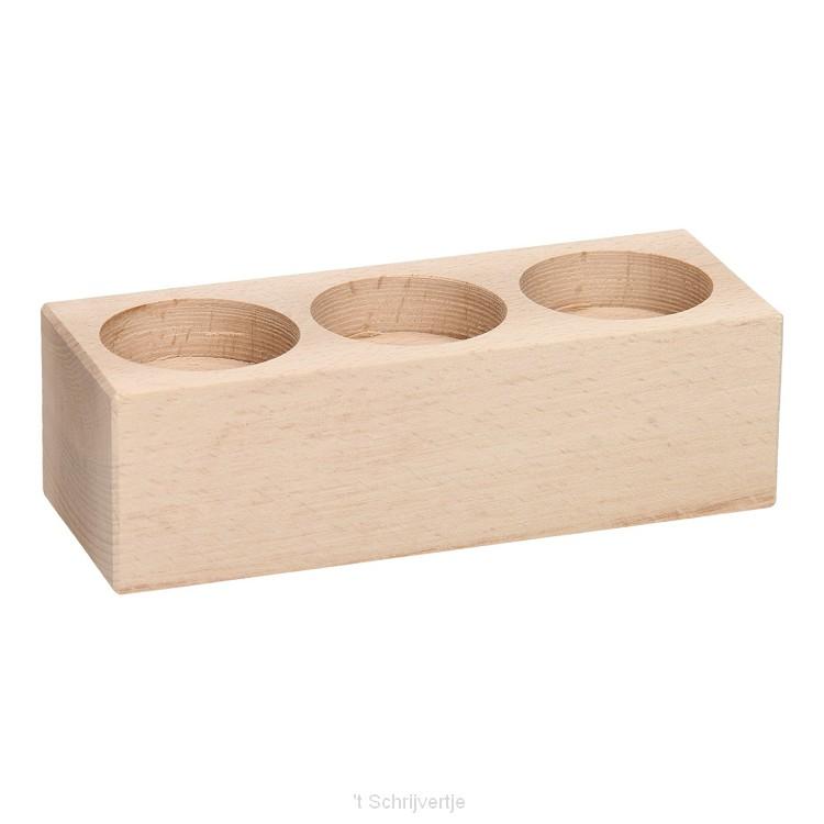 Waxinelichthouder Rechthoek Beukenhout