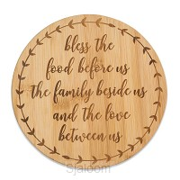Bamboo trivet bless the food