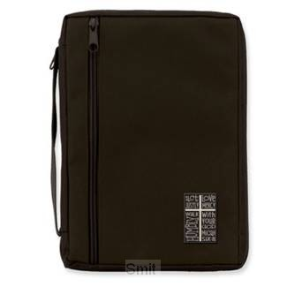Biblecover canvas blk cross patch medium