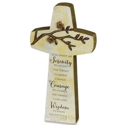 Table top cross serenity prayer