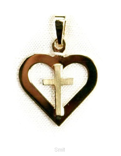 Hanger goud kruis/hart 15mm 1.4gr