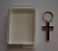 Hanger kruis metaal donkerbl in doosje