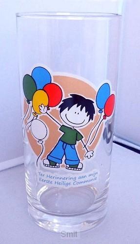 Longdrinkglas jongen communie ballon