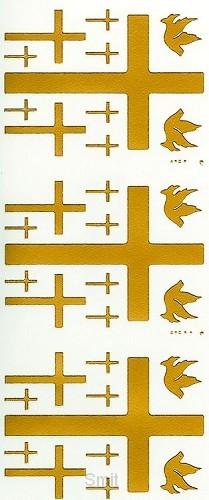 Stickervel 3 x 2 duiven 9 kruisen goud