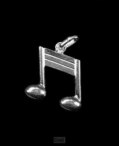 Hanger zilver muzieknoot 15mm