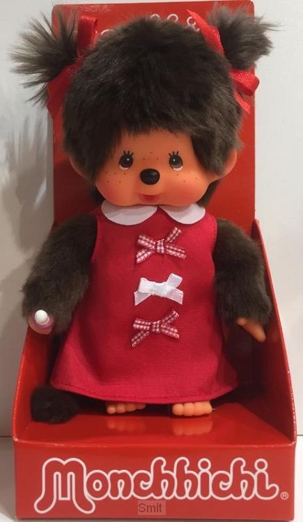 MONCHHICHI 20 cm Meisje Red Ribbon Dress