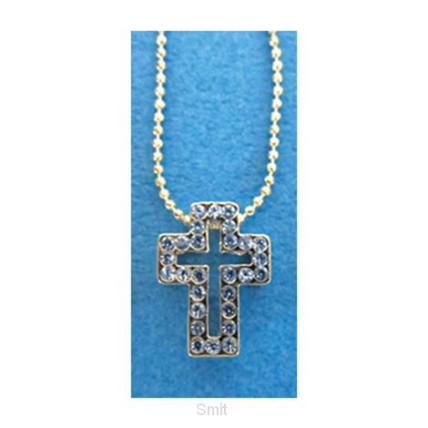 Necklace crystal cross blue