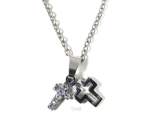 Necklace double crystal/open cross