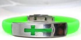 Bracelet open cross green