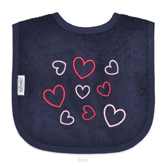 Baby bib hearts navy