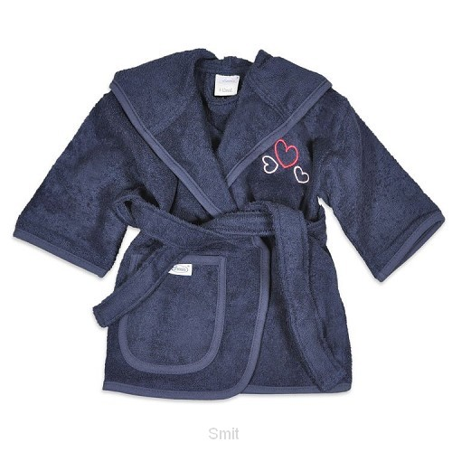 Bathrobe hearts navy