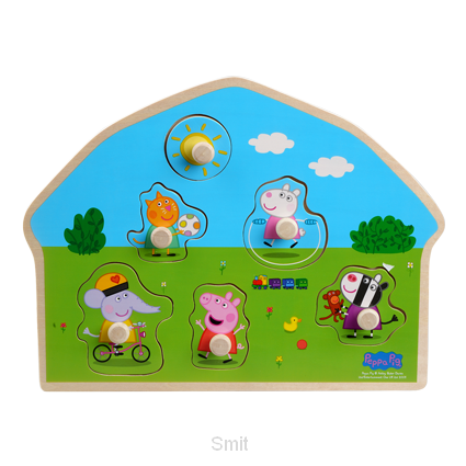 Peppa Pig Houten puzzel met knoppen - Speeltuin