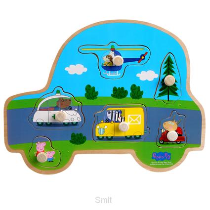 Peppa Pig Houten puzzel met knoppen - Transport