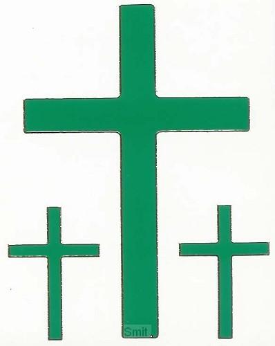 Stickervel kruis groen 3 x 9 cm 6 x 3.5