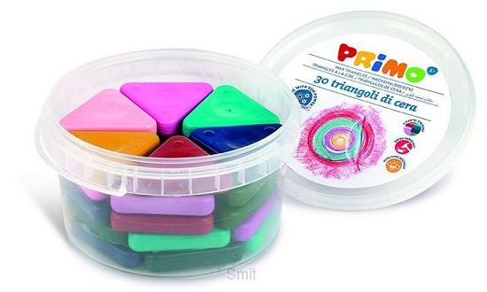 PRIMO - Pot met 30 driehoek waskrijtjes (pastelkleuren)