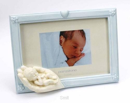 Fotolijst blauw 13x9cm hand met kind wit
