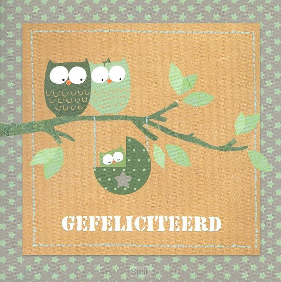 Wenskaart gefeliciteerd groene ster