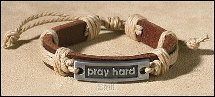 Leather bracelet pray hard