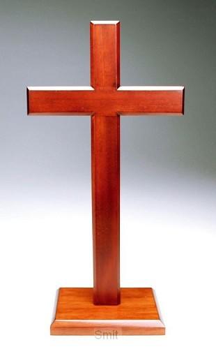 Kruis op voet 30cm mahoniehout