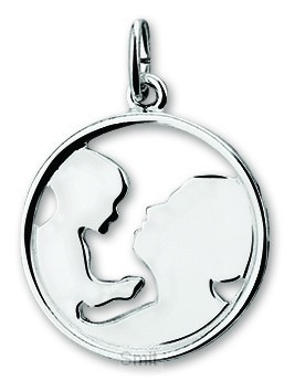 Silver pendant mother and child