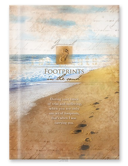 Hardcover journal footprints in the sand